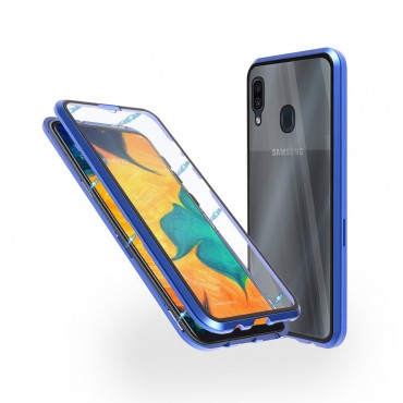 Магнитен 360° калъф от 2 части за Samsung Galaxy A30 със стъкло отпред и отзад, Син