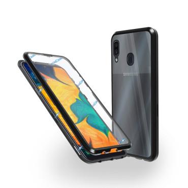 Магнитен 360° калъф от 2 части за Samsung Galaxy A30 със стъкло отпред и отзад, Черен