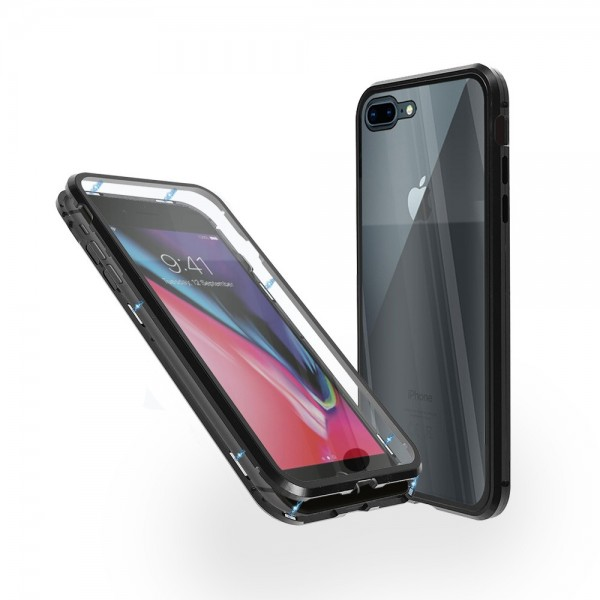 Магнитен 360° калъф от 2 части за iPhone 8 Plus със стъкло отпред и отзад, Черен