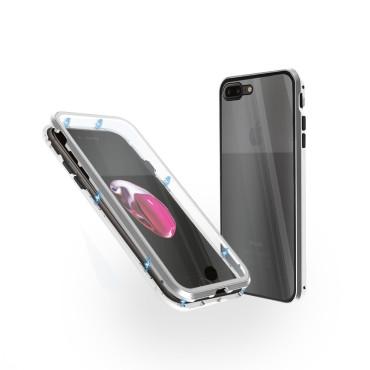 Магнитен 360° калъф от 2 части за iPhone 7 Plus със стъкло отпред и отзад, Сребрист