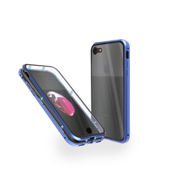 Магнитен 360° калъф от 2 части за iPhone 8 със стъкло отпред и отзад, Син
