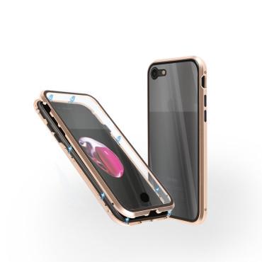 Магнитен 360° калъф от 2 части за iPhone 7 със стъкло отпред и отзад, Златист
