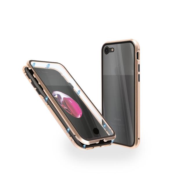 Магнитен 360° калъф от 2 части за iPhone 8 със стъкло отпред и отзад, Златист