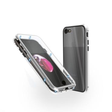 Магнитен 360° калъф от 2 части за iPhone 7 със стъкло отпред и отзад, Сребрист