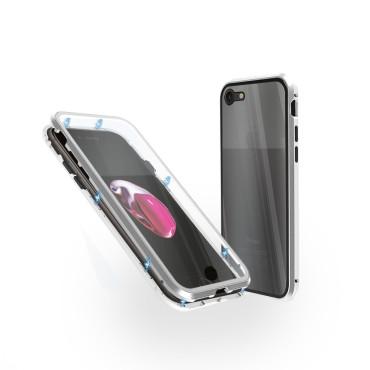 Магнитен 360° калъф от 2 части за iPhone 8 със стъкло отпред и отзад, Сребрист