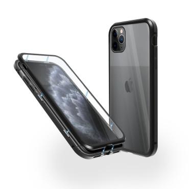 Магнитен 360° калъф от 2 части за iPhone 11 Pro със стъкло отпред и отзад, Черен