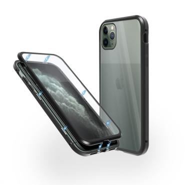 Магнитен 360° калъф от 2 части за iPhone 11 Pro Max със стъкло отпред и отзад, Черен