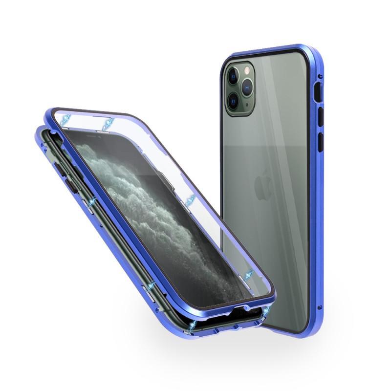 Магнитен 360° калъф от 2 части за iPhone 11 Pro Max със стъкло отпред и отзад, Син