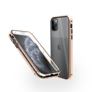 Магнитен 360° калъф от 2 части за iPhone 11 Pro със стъкло отпред и отзад, Златист