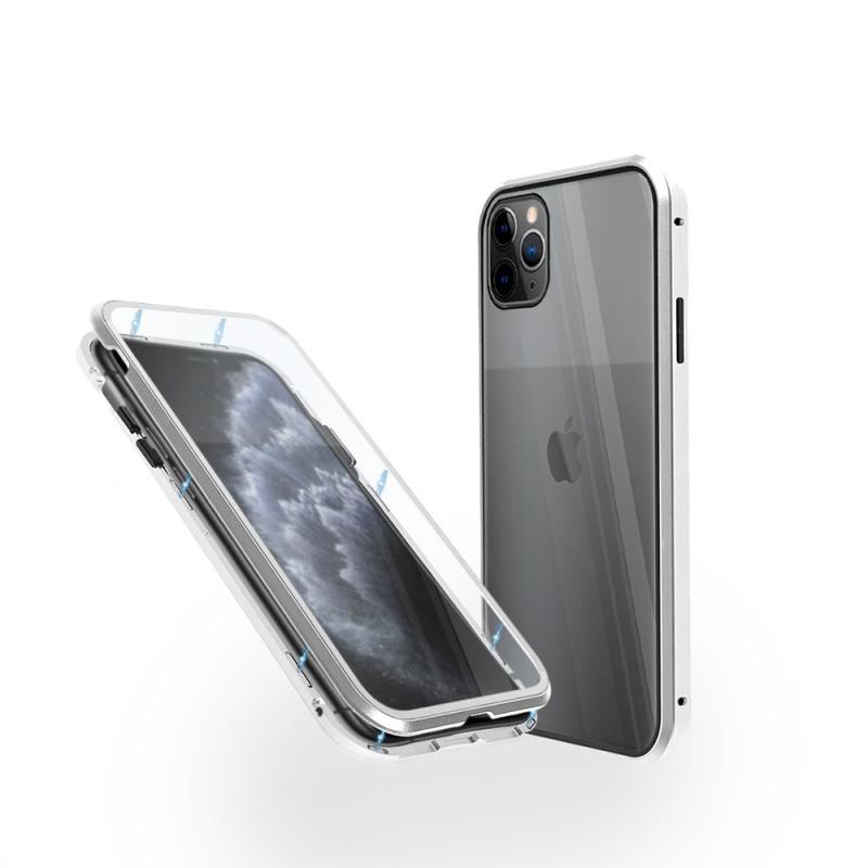 Магнитен 360° калъф от 2 части за iPhone 11 Pro със стъкло отпред и отзад, Сребрист