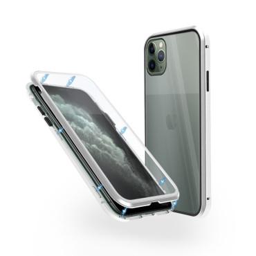 Магнитен 360° калъф от 2 части за iPhone 11 Pro Max със стъкло отпред и отзад, Сребрист