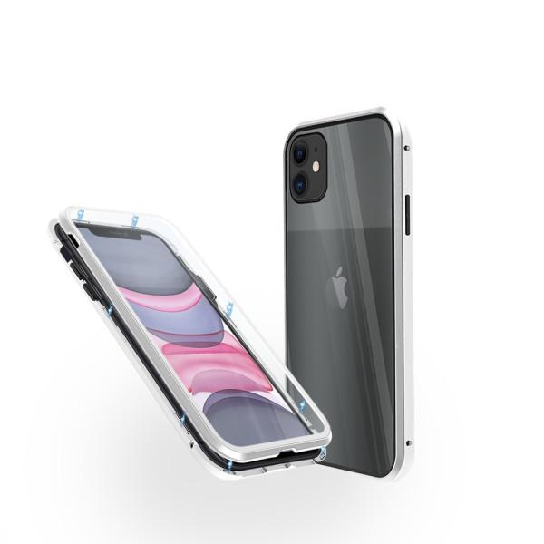 Магнитен 360° калъф от 2 части за iPhone 11 със стъкло отпред и отзад, Сребрист