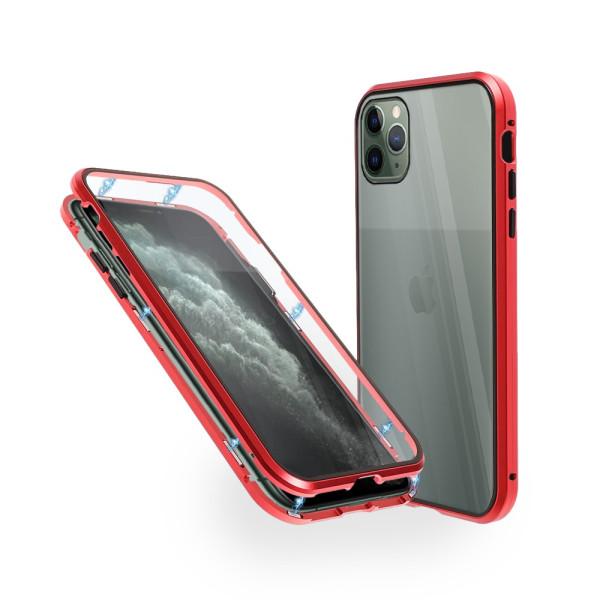 Магнитен 360° калъф от 2 части за iPhone 11 Pro Max със стъкло отпред и отзад, Червен