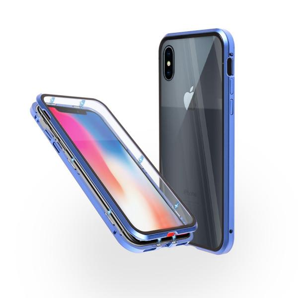 Магнитен 360° калъф от 2 части за iPhone X със стъкло отпред и отзад, Син