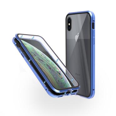 Магнитен 360° калъф от 2 части за iPhone XS със стъкло отпред и отзад, Син