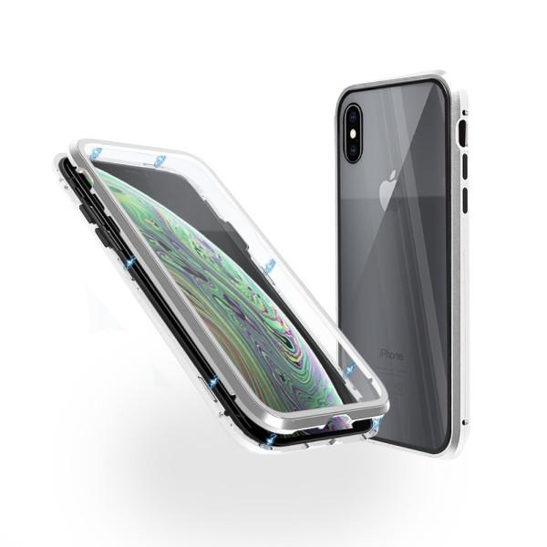 Магнитен 360° калъф от 2 части за iPhone XS Max със стъкло отпред и отзад, Сребрист