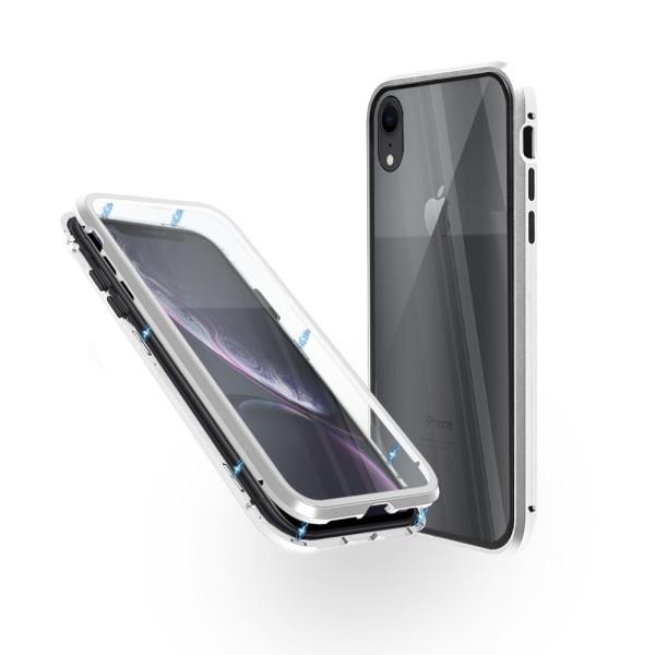 Магнитен 360° калъф от 2 части за iPhone XR със стъкло отпред и отзад, Сребрист
