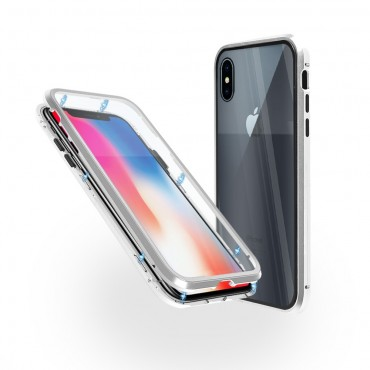Магнитен 360° калъф от 2 части за iPhone X със стъкло отпред и отзад, Сребрист