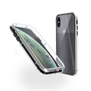 Магнитен 360° калъф от 2 части за iPhone XS със стъкло отпред и отзад, Сребрист