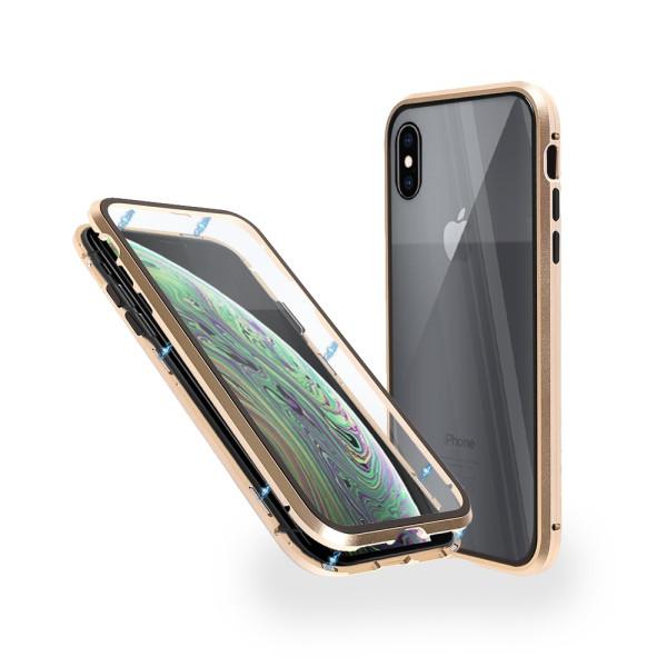 Магнитен 360° калъф от 2 части за iPhone XS Max със стъкло отпред и отзад, Златист
