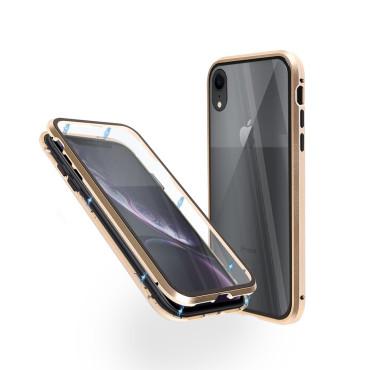 Магнитен 360° калъф от 2 части за iPhone XR със стъкло отпред и отзад, Златист