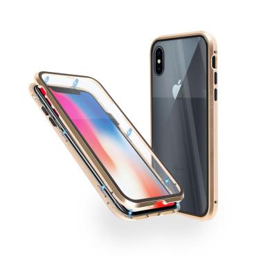 Магнитен 360° калъф от 2 части за iPhone X със стъкло отпред и отзад, Златист