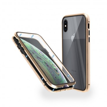 Магнитен 360° калъф от 2 части за iPhone XS със стъкло отпред и отзад, Златист