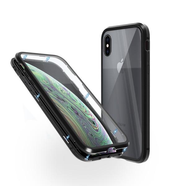 Магнитен 360° калъф от 2 части за iPhone XS със стъкло отпред и отзад, Черен