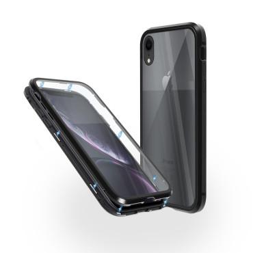 Магнитен 360° калъф от 2 части за iPhone XR със стъкло отпред и отзад, Черен