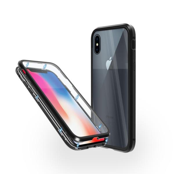 Магнитен 360° калъф от 2 части за iPhone X със стъкло отпред и отзад, Черен