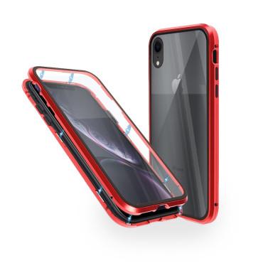 Магнитен 360° калъф от 2 части за iPhone XR със стъкло отпред и отзад, Червен