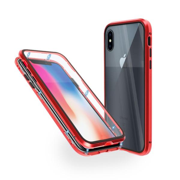 Магнитен 360° калъф от 2 части за iPhone X със стъкло отпред и отзад, Червен