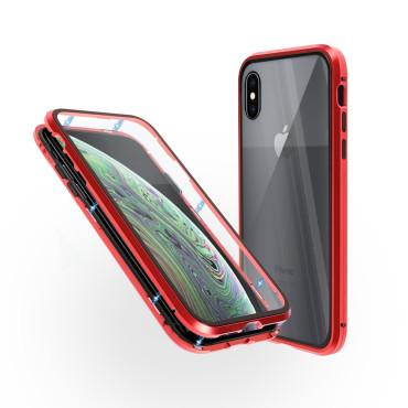 Магнитен 360° калъф от 2 части за iPhone XS със стъкло отпред и отзад, Червен