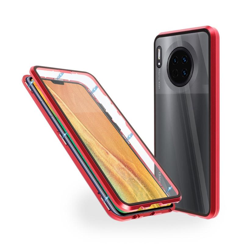 Магнитен 360° калъф от 2 части за Huawei Mate 30 със стъкло отпред и отзад, Червен