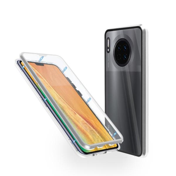 Магнитен 360° калъф от 2 части за Huawei Mate 30 със стъкло отпред и отзад, Сребрист
