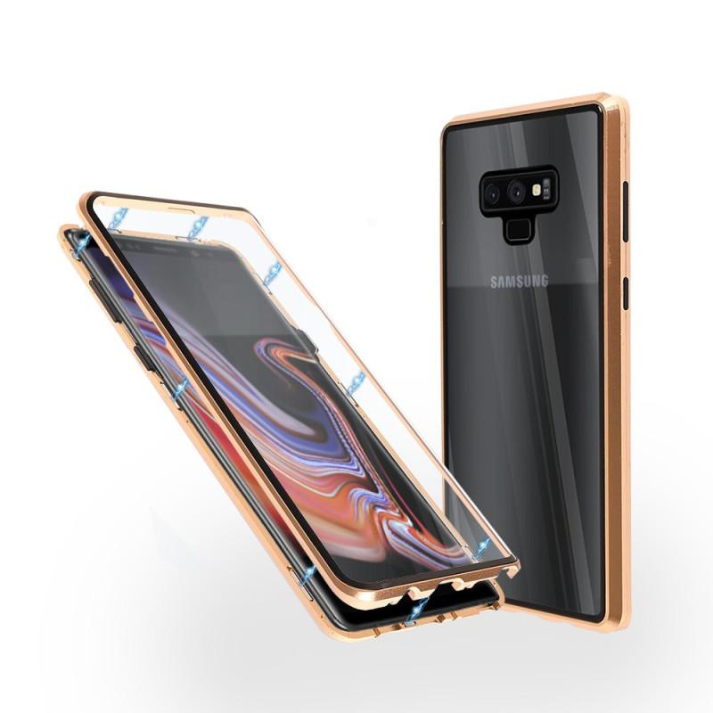 Магнитен 360° калъф от 2 части за Samsung Galaxy Note 9 със стъкло отпред и отзад, Златист