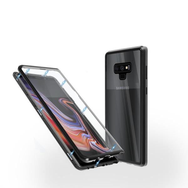 Магнитен 360° калъф от 2 части за Samsung Galaxy Note 9 със стъкло отпред и отзад, Черен