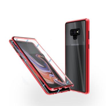 Магнитен 360° калъф от 2 части за Samsung Galaxy Note 9 със стъкло отпред и отзад, Червен