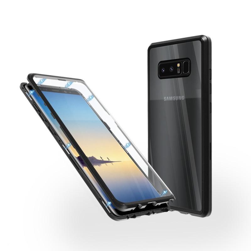 Магнитен 360° калъф от 2 части за Samsung Galaxy Note 8 със стъкло отпред и отзад, Черен