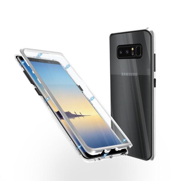 Магнитен 360° калъф от 2 части за Samsung Galaxy Note 8 със стъкло отпред и отзад, Сребрист