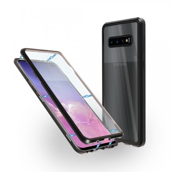 Магнитен 360° калъф от 2 части за Samsung Galaxy S10 Plus със стъкло отпред и отзад, Черен