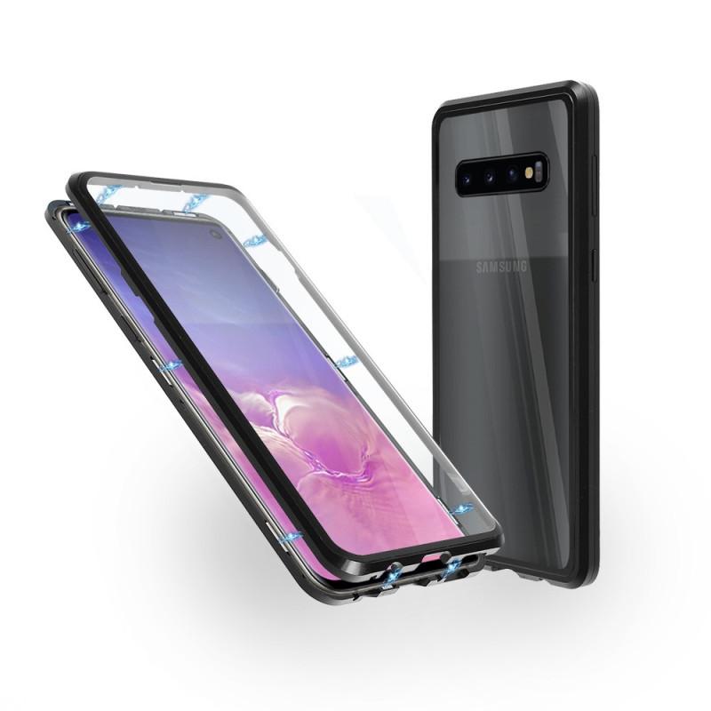 Магнитен 360° калъф от 2 части за Samsung Galaxy S10 със стъкло отпред и отзад, Черен