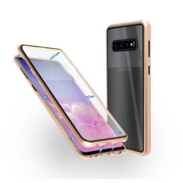 Магнитен 360° калъф от 2 части за Samsung Galaxy S10 Plus със стъкло отпред и отзад, Златист