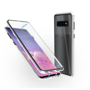 Магнитен 360° калъф от 2 части за Samsung Galaxy S10 Plus със стъкло отпред и отзад, Сребрист