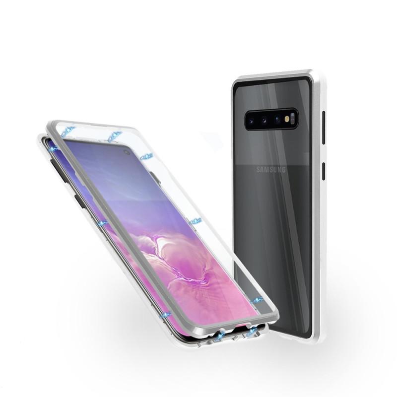Магнитен 360° калъф от 2 части за Samsung Galaxy S10 със стъкло отпред и отзад, Сребрист