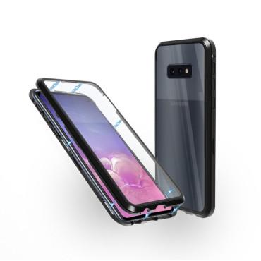 Магнитен 360° калъф от 2 части за Samsung Galaxy S10e със стъкло отпред и отзад, Черен