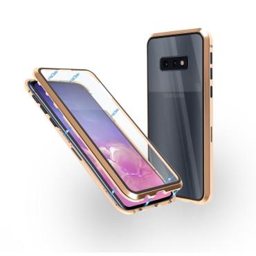 Магнитен 360° калъф от 2 части за Samsung Galaxy S10e със стъкло отпред и отзад, Златист