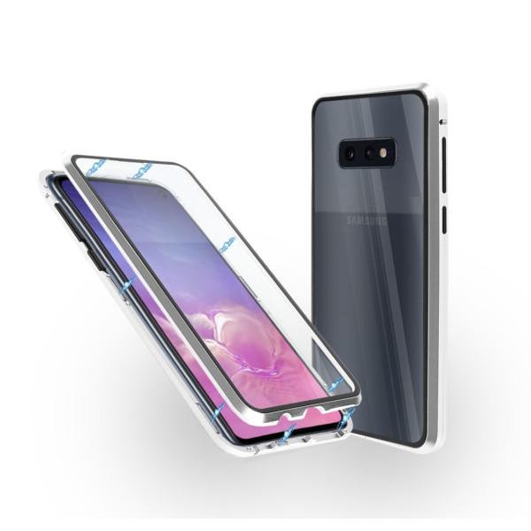 Магнитен 360° калъф от 2 части за Samsung Galaxy S10e със стъкло отпред и отзад, Сребрист