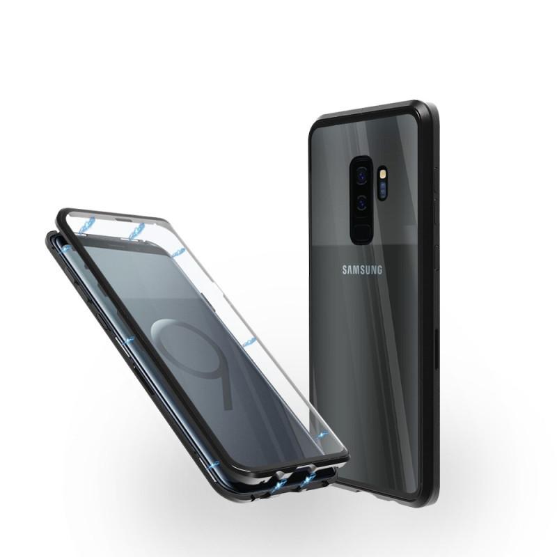 Магнитен 360° калъф от 2 части за Samsung Galaxy S9 Plus със стъкло отпред и отзад, Черен