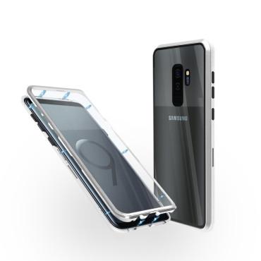Магнитен 360° калъф от 2 части за Samsung Galaxy S9 Plus със стъкло отпред и отзад, Сребрист